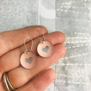 Etched Silver Heart on Soft Pink Tiny Dot Tin Earrings