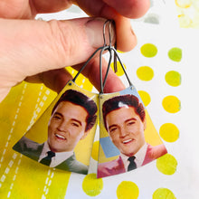 Load image into Gallery viewer, Young Elvis Upcycled Tin Long Fans Earrings