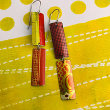 Load image into Gallery viewer, Mixed Red & Gold Patterns Rectangles Tin Earrings