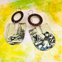 Load image into Gallery viewer, Japanese Scene Chunky Horseshoes Zero Waste Tin Earrings