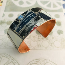 Load image into Gallery viewer, Mixed Black & White and Pops of Red Upcycled Tesserae Tin Cuff