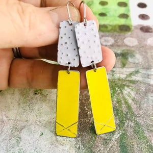 Bright Yellow & White Recycled Tin Earrings