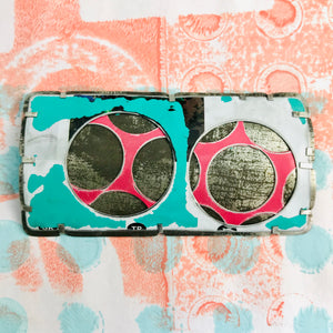 Encircled Weathered White Over Pink Upcycled Tin Brooch