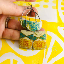 Load image into Gallery viewer, Vintage Yellow Rose Zero Waste Tin Earrings
