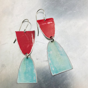 Mod Matte Raspberry & Aqua Arches Zero Waste Tin Earrings