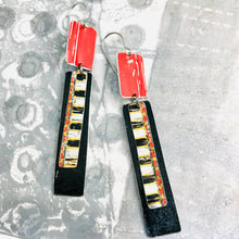 Load image into Gallery viewer, Scarlet & Midnight Recycled Tin Rectangles Earrings
