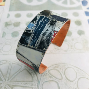 Mixed Black & White and Pops of Red Upcycled Tesserae Tin Cuff