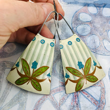 Load image into Gallery viewer, Teal Dots & Leaves Upcycled Tin Long Fans Earrings