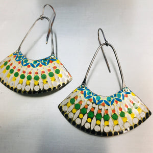 Vintage Mosaic Large Fan Recycled Tin Earrings
