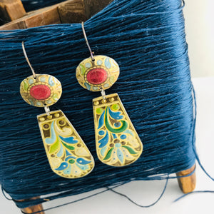 Vintage Arts and Craft Style Zero Waste Tin Earrings Ethical Jewelry