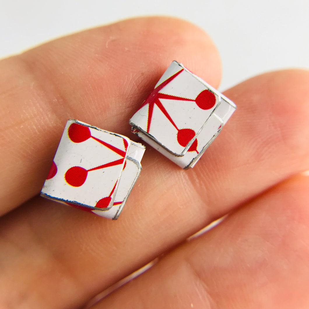 Retro Red Asterisks Folded Square Upcycled Tin Post Earrings
