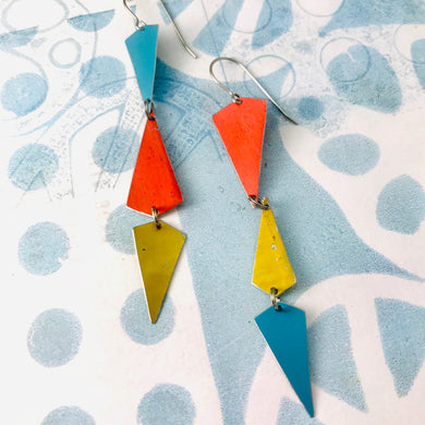 Turquoise, Gold & Coral Small Narrow Kites Recycled Tin Earrings