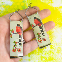 Load image into Gallery viewer, Elegant Birds Long Narrow Tin Earrings