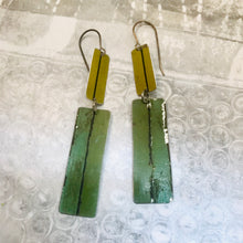 Load image into Gallery viewer, Vintage Greens Lid Edges Recycled Tin Earrings