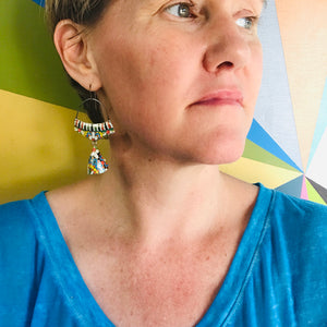 Vintage Mosaic Embossed Pattern Zero Waste Tin Earrings