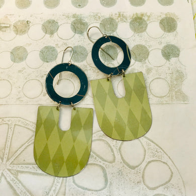 Pale Green Harlequins Chunky Horseshoes Zero Waste Tin Earrings