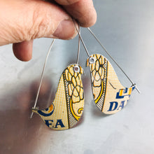 Load image into Gallery viewer, Darjeeling Tea Birds on a Wire Upcycled Tin Earrings