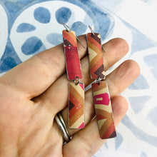 Load image into Gallery viewer, Mixed Pinks & Maroon Rectangles Recycled Tin Earrings
