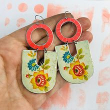 Load image into Gallery viewer, Vintage Flowers Chunky Horseshoes Zero Waste Tin Earrings