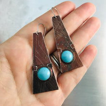 Load image into Gallery viewer, Chocolate & Aqua Domes Zero Waste Tin Earrings