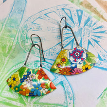 Load image into Gallery viewer, Allover Flower Fan Dangles Upcycled Tin Earrings