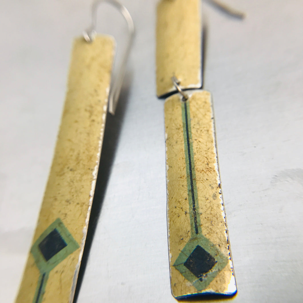 Mismatched Vintage Blue Diamonds on Cream Long Rectangle Tin Earrings