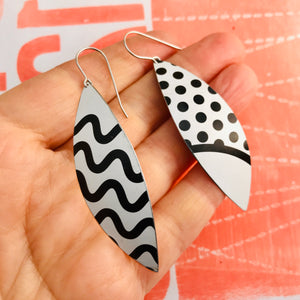 Black & White Lines Upcycled Tin Leaf Earrings