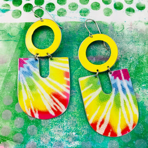Sunny Tie Dye Chunky Horseshoes Zero Waste Tin Earrings