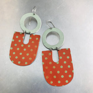 Orange & Pale Celadon Chunky Horseshoes Zero Waste Tin Earrings