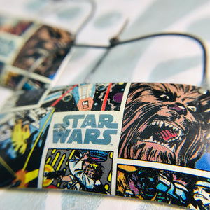 Star Wars Wide Rectangle Recycled Tin Earrings