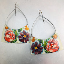 Load image into Gallery viewer, Big Flowers Wide Arch Tin Earrings