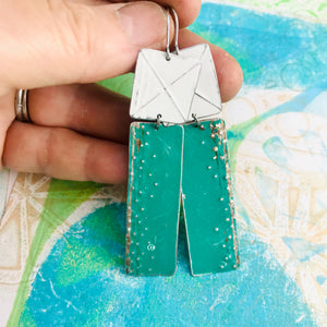 Grass Green & Snowy White Recycled Tin Earrings