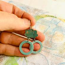Load image into Gallery viewer, Soft Aqua Upcycled Flower and Ring Tin Earrings