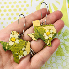 Load image into Gallery viewer, Strawberry Blossoms Texas Upcycled Tin Earrings