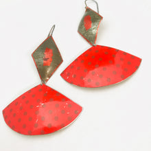 Load image into Gallery viewer, Gunmetal Diamond & Scarlet Polka Dotted Fans Upcycled Tin Fan Earrings