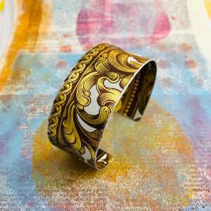 Antiqued Golden Swirls Upcycled Tin Cuff