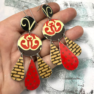 Dashed Brown & Red Dots Tin Chandelier Earrings