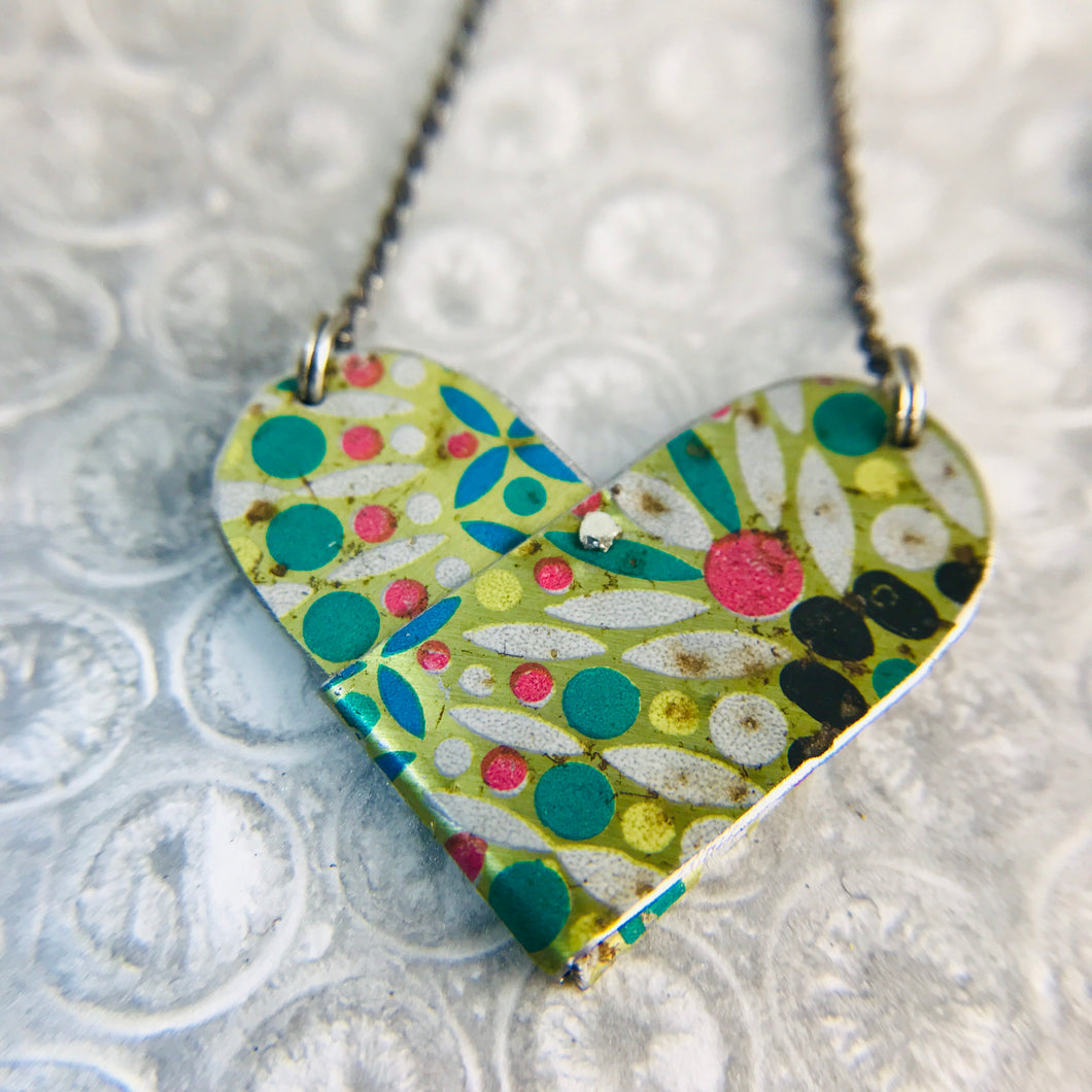 Vintage Mosaic Tin Heart Recycled Necklace
