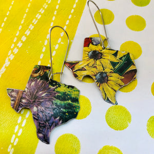 Black Eyed Susans  Upcycled Tin Earrings