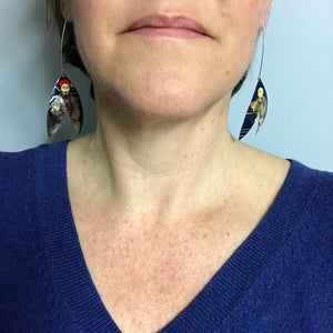 Bright Red Biscotti Double Leaf Upcycled Tin Earrings by Christine Terrell for adaptive reuse jewelry