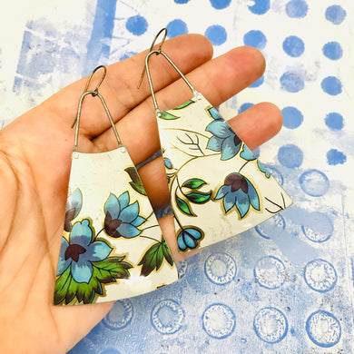 Beautiful Blue Vintage Flowers Upcycled Tin Long Fans Earrings