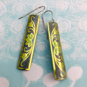 Vintage Gold & Green on Denim Narrow Rectangle Tin Earrings