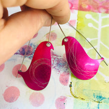 Load image into Gallery viewer, Shimmery Bright Pink Spirograph Birds on a Wire Upcycled Tin Earrings