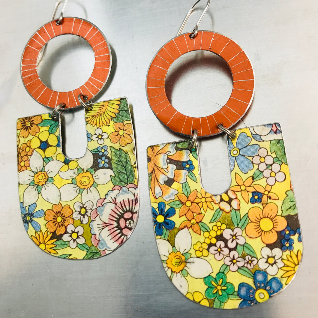 Shimmery Pumpkin & Allover Flowers Chunky Horseshoes Zero Waste Tin Earrings