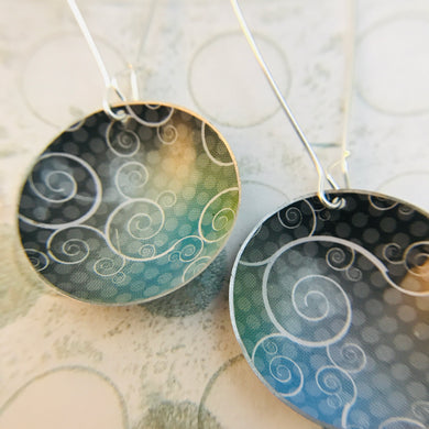 Swirly Charcoal and Cools Large Basin Tin Earrings