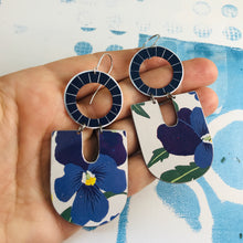Load image into Gallery viewer, Vintage Violets Chunky Horseshoes Zero Waste Tin Earrings