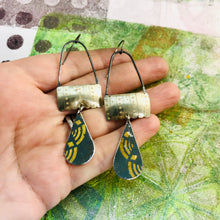Load image into Gallery viewer, Vintage Gold & Slate Teardrops Aqua Rings Upcycled Teardrop Tin Earrings