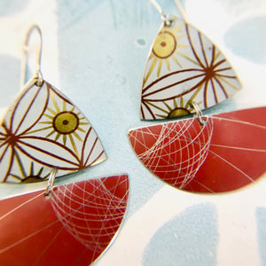 Red Spirograph Little Sailboats Tin Earrings