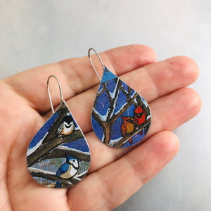 Winter Birds Upcycled Teardrop Tin Earrings