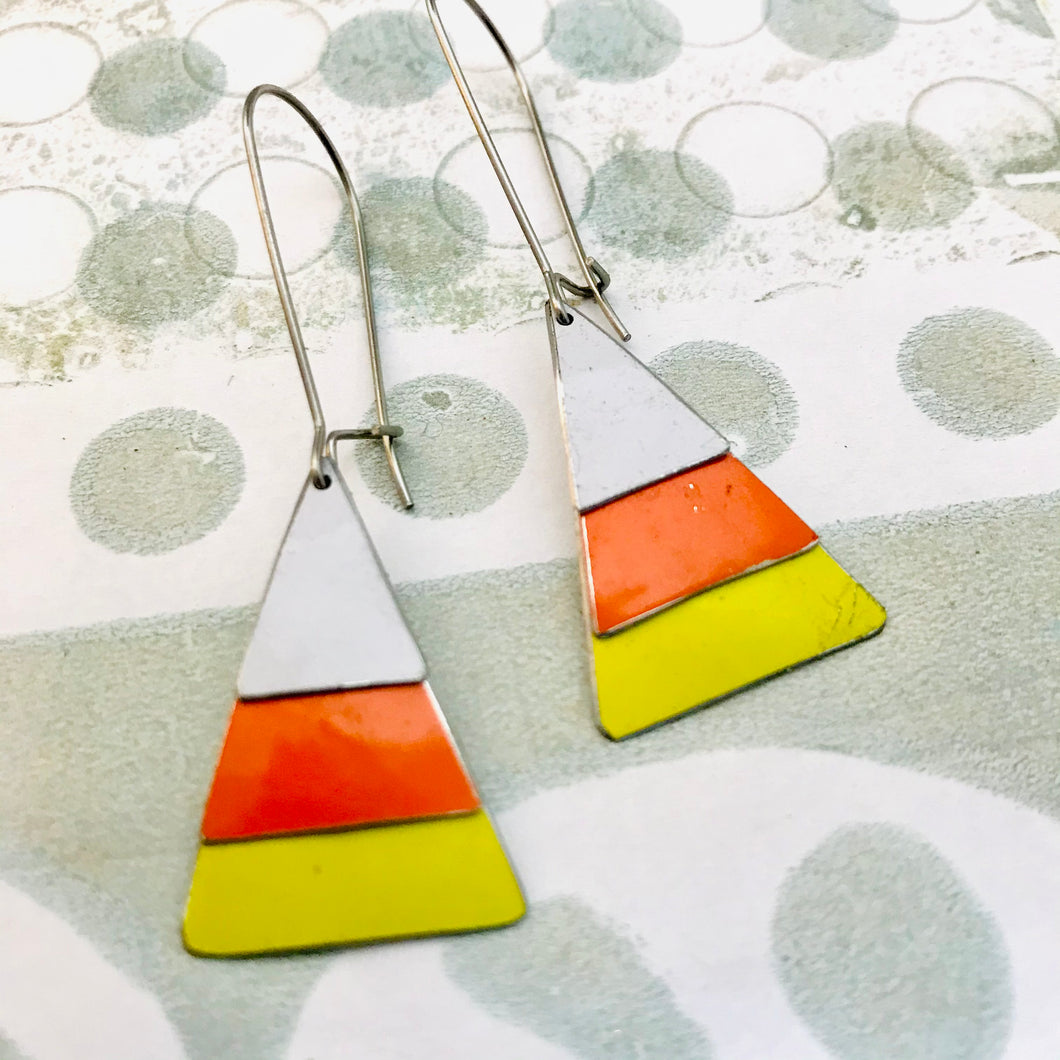 Candy Corn Halloween Upcycled Tin Earrings